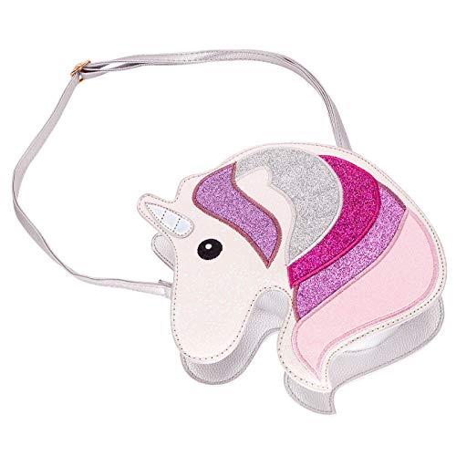 (HDE 3D Glitter Unicorn Crossbody Purse Bag for Teens Girls Women Novelty Handbag (Silver Unicorn))