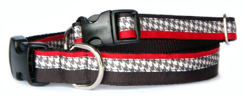 Houndstooth dog collar : Triple layers of red, black, houndstooth grosgrain ribbon funky designer pet collar for puppies, small dogs to large dogs. handmade in USA