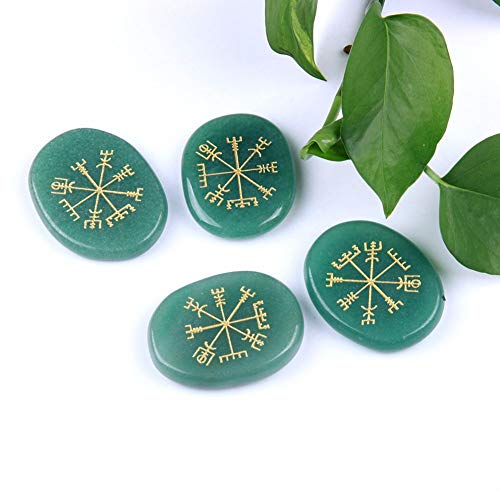Figurines & Miniatures - 4pcs Natural Green Aventurine Palm Flatback Stone Set Engraved Ancient Norse Vegvisir Compass - Green Healing Earrings Crystals Crystal