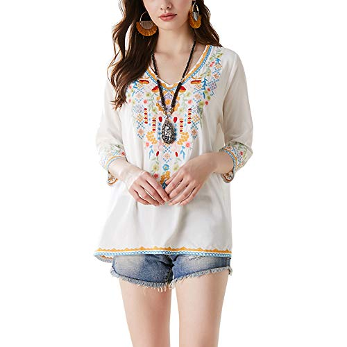 AK Women's Embroidery Mexican Bohemian Cotton Tops Shirt Tunic Blouses (White, XX-Large)