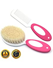 Baby Hair Brush and Comb Set for Newborns & Toddlers Eco-Friendly Safe and Soft Goat Bristle Brush, Perfect for New Baby Shower and Registry Gift (Pink)