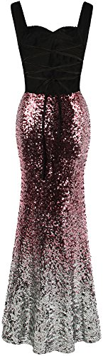 Rose Women's Dress Gradual fashions Silver Prom Sequin Long Split Sweetheart Angel Hollow FvqUU