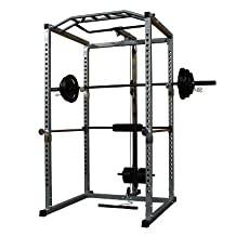 Power Squat Rack Training System Cage with Lat Pull Down Attachment