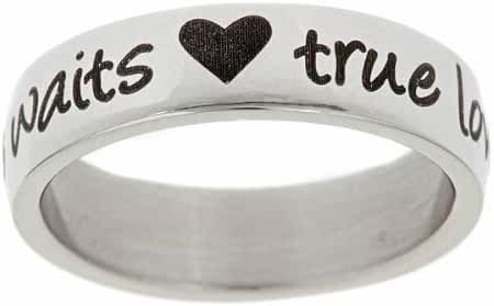True Love Waits and Hearts Stainless Steel Purity Ring