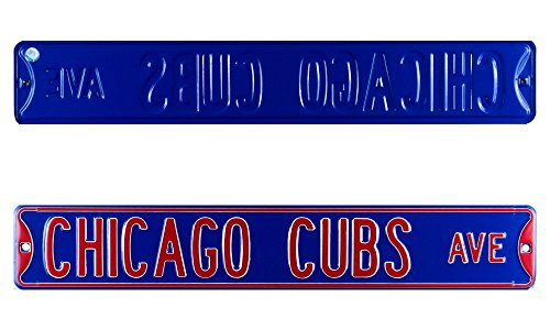 - Chicago Cubs Avenue Officially Licensed Authentic Steel 36x6 Blue & Red MLB Street Sign
