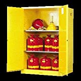 Justrite® 90 Gallon Yellow Sure-Grip® EX 18 Gauge Cold Rolled Steel Vertical Drum Safety Cabinet With (2) Self-Closing Doors And (2) Shelves (For Flammable Liquids)