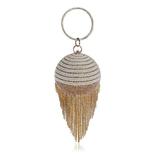 Perles en Cristal De Forme Creuse Bracelet De Soirée pour Femmes Gland Sac À Main en Strass Clutch Diamond Wedding Ball Sac À Bandoulière,Gold