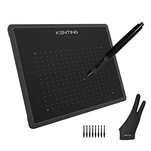 Kenting K5540 Drawing Tablet USB Graphic Tablet 5.5 x 4 inches Pen Tablet Board Kit Glove 6.7 inches Tablet and Pen for Kids 4096 Levels Pressure Windows Mac Laptop Computer (Black)
