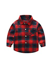 kydely Baby Plaid Flannel Shirts Little Boy Girl Button Down Long Sleeve Shirt (1T-6T)