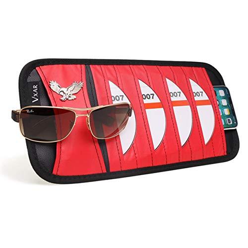 - VXAR CD DVD Sun Visor Organizer Holder Car Detachable PU Auto Multi-Purpose Bag Sunglasses Eagle Badge Vehicle-Mounted 10 Pockets-Red