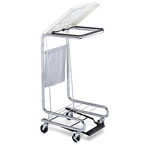 Square Chrome Step-On Hamper 18.625