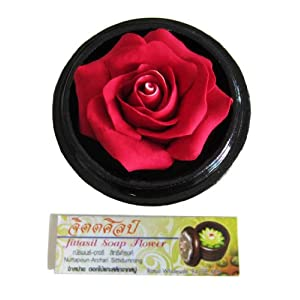 "Jittasil Thai Hand-Carved Soap Flower, 4"" Scented Soap Carving, Rose In Decorative Wood Case 80"