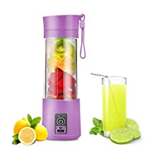 Portable USB Juicer Cup,Water Bottle 380ml USB Charger Fruit Mixing Machine (purple)