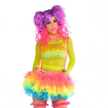 Rainbow Bright Costume Uk (Neon Bright Electric Party Rainbow Tutu With Attached Suspenders Wearables, Fabric, Adult Free Size)