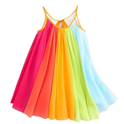 Girls Summer Beach Rainbow Dress Sleeveless Sling Perform Party Chiffon Tutu Dress 6T]()