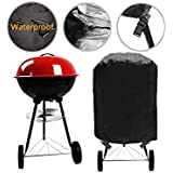 """Grill Cover Kettle Barbecue Cover Durable Outdoor Round BBQ Cover Water Resistant with Buckle Straps for Most Charcoal Kettle Grills, Dia 30""""x 29""""H"""