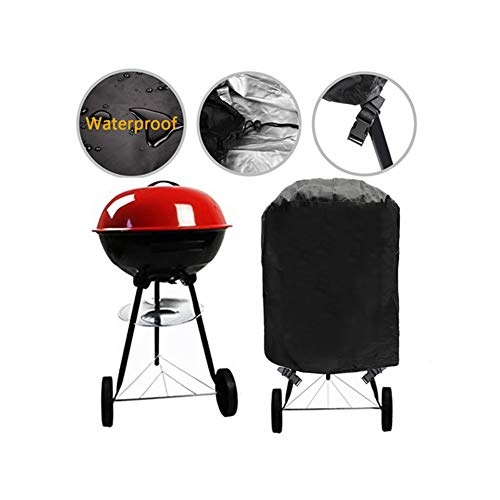 Grill Cover Kettle Barbecue Cover Durable Outdoor Round BBQ Cover Water Resistant Buckle Straps Most Charcoal Kettle Grills, Dia 30