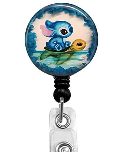 Lilo & Stitch Retractable ID Card Badge Holder with Alligator Clip, Medical Nurse Badge ID, Office Employee Name Badge