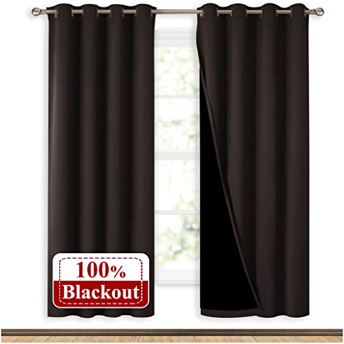NICETOWN 100% Blackout Window Curtain Panels, Full Light Blocking Drapes with Black Liner for Nursery, 72 inches Drop Thermal Bedroom Drapes and Curtains (Brown, 2 Pieces, 52 inches Wide Per Panel)