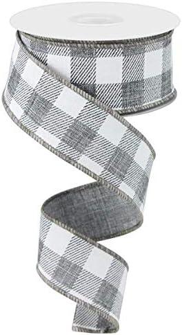 Flannel Check Plaid Wired Edge Ribbon 10 Yards Black, White, 1.5