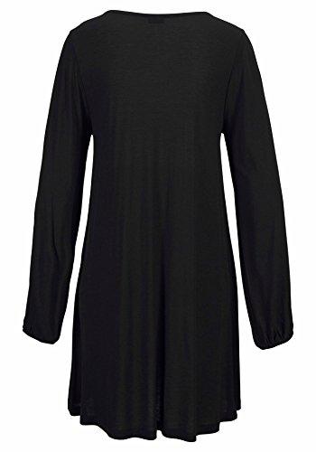 Longues Rond New Chic Manches Robes Casual Noir Unie Femme Lache Col Plage t Slim Dnude Robe Mini shirts Couleur T paule nI1wOPqwFx