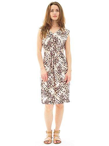 Avanti Bottega Women's Printed Cinch Waist V-neck Midi Dress XL Cream Abstract ()