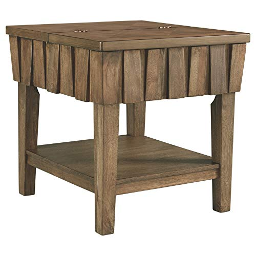 - Ashley Furniture Signature Design - Rowenbeck Rectangular End Table with Hinged Top, Brown
