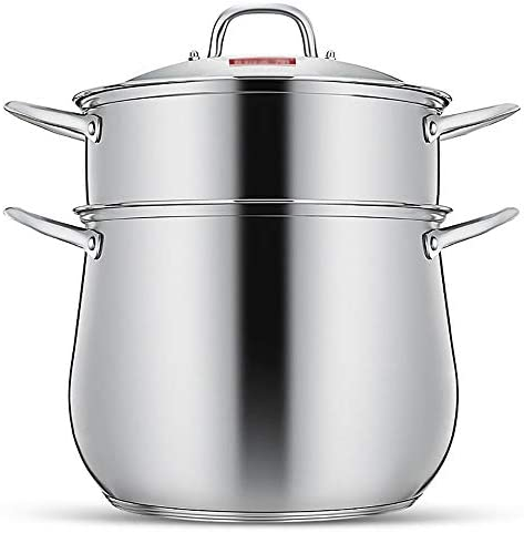 蒸し器 すべての料理、野菜、魚介類や中国の餃子のための単一のレイヤ2、レイヤティアステンレス鋼スチーマー調理器具鍋Saucepotマルチレイヤボイラーキッチンホームスチーム鍋セット 蒸し料理に (Color : Silver, Size : 38x34cm)