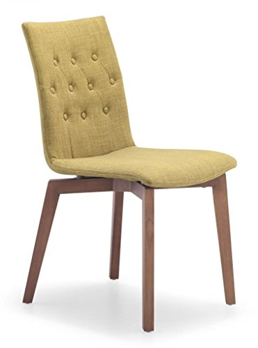 Vitra Set Chair - Tufted Dining Chair in Green with Natural Wood Legs (Set of Two)