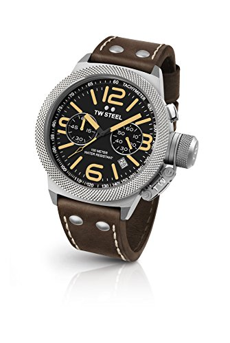 TW Steel Men's 'Canteen' Quartz Stainless Steel and Leather Dress Watch, Color Brown (Model: CS33)
