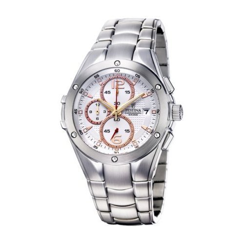 Festina Steel Collection Chronograph Textured White Dial Mens watch #F6798/1