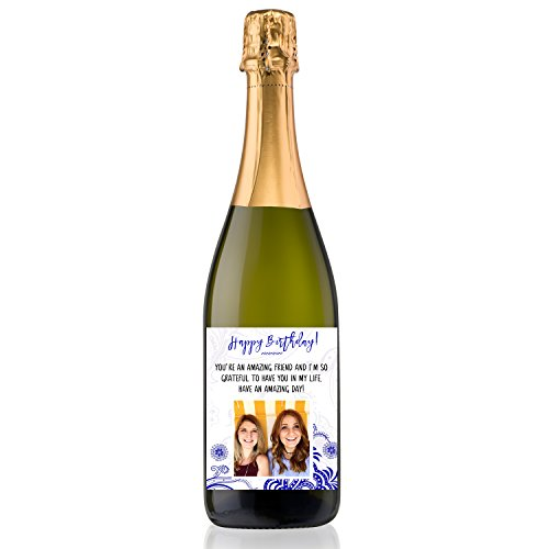 Personalized Labeled Wine Bottle for Birthday Gift Congratulations Lauren Blue Sparkling Wine 750ml