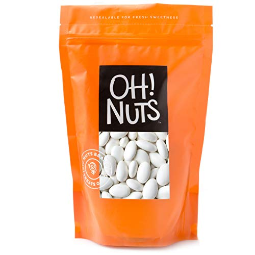 White Jordan Almonds Thin Sugar Coating Large Super Fine Premium 2 Pound Bag - Oh! Nuts (Almond Silvers)