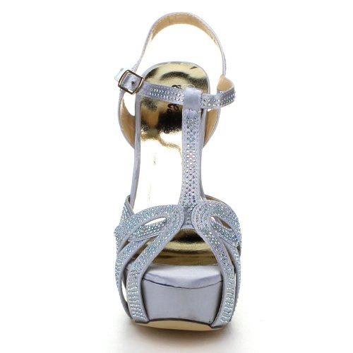Zapatillas De Vestir Eye Candie Mujeres Celine-86, De Tacón Alto, Plateadas