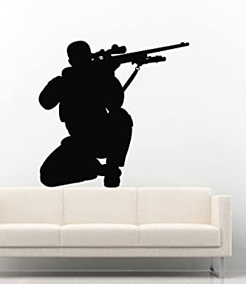 Cool Vinyl Wall Decals Military Army Silhouette Soldiers Sniper Decor Stickers Vinyl MK2198