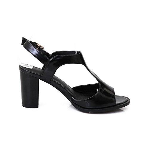 Buckle Solid Leather Womens High Heels Cow AmoonyFashion Peep Sandals Black Toe XwTt0nxXYq