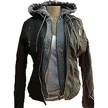 YMI New Outerwear Faux Fur Lining Dark Gray Color Hoodie Zip Jacket Coat