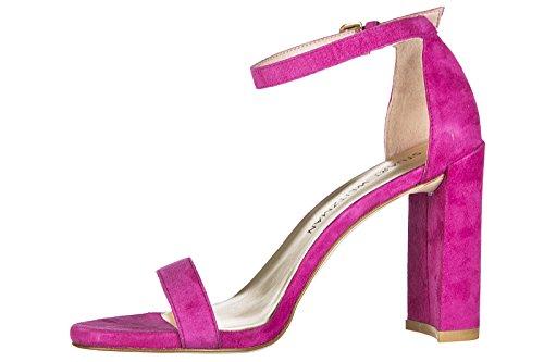 Stuart Weitzman sandalias de tacón mujer en ante nuevo fuxia