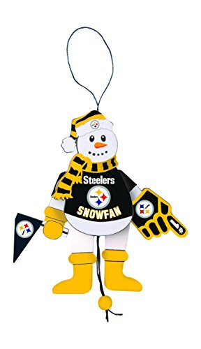 NFL Pittsburgh Steelers Wooden Cheering Snowman Ornament