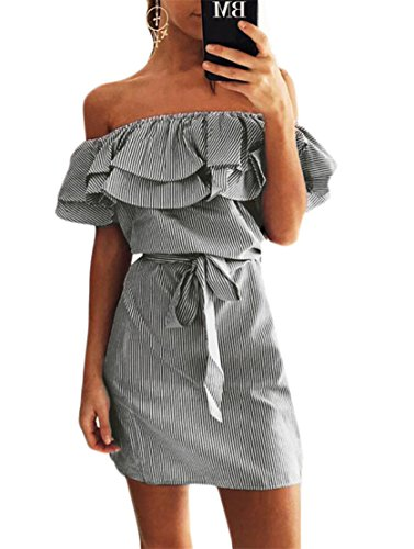 Striped Jaycargogo Ruffled Waist Bodycon Dresses Off Accept Black Sexy Women Shoulder ZqnBqrITS