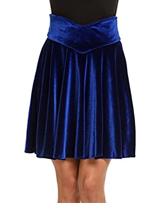 Chigant Women's Vintage Velvet Stretchy Mini Flared Skater Skirt