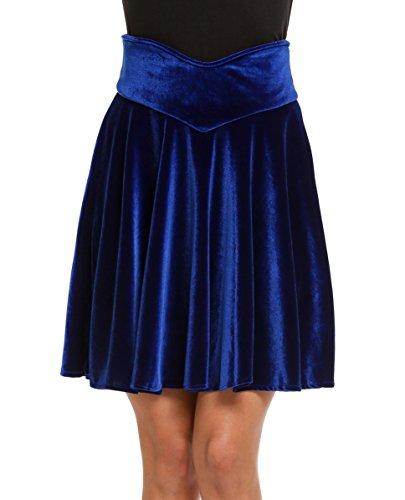 (Chigant Women's Velvet Skater Skirt Mini Skirt- Royal)