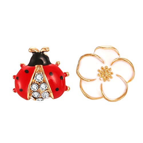 FAMARINE Ladybug Camellia Stud Earrings Enamel Cute Funny Animal Flower Earring for Teen Girls Women Kids Children Gifts, Red White