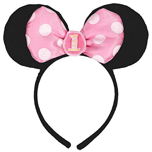 Amscan Minnie Mouse 1st Birthday Headband, Black/Pink (Middle Ages Costumes)