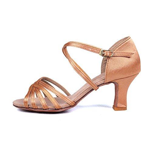 Pu Yff Donna Da Di Sala 1 Ballo Tacco Beige Latino Tango Scarpe Con Vendita satinata 5cm UPwUS