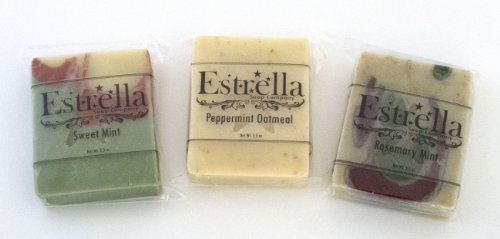 Handmade Natural Vegan Soap 3 Bars Sweet Mint, Rosemary Mint, Peppermint Oatmeal