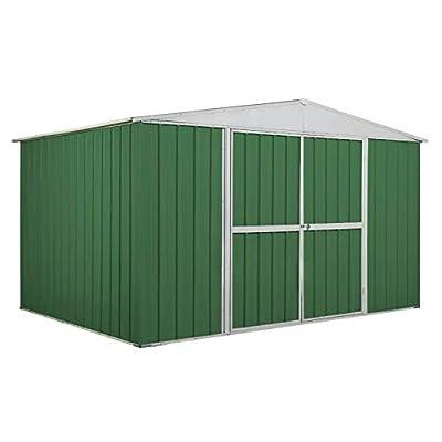 Notek Box in Acciaio Zincato Casetta da Giardino in Lamiera 3.60 x 2.60 m x h2.12 m – 130 kg – 9,1 Metri Quadri – Verde