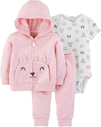 Carters Knit Set - Carter's Baby Girls' Cardigan Sets (Pink Heather/Animals, 6 Months)