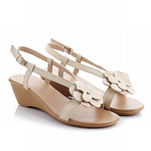 Carol Shoes Chic Womens Buckle Elegance Fashion Applique Mid Heel Wedges Sandals Beige-white 6E5yNPhrH