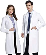 ANNISOUL Professional Lab Coat for Men and Women,Unisex White Medical Doctor Workwear,Classic Fit,Long Sleeve,